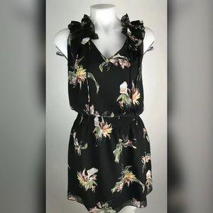 WHBM Floral Blouson Dress Ruffle Detail